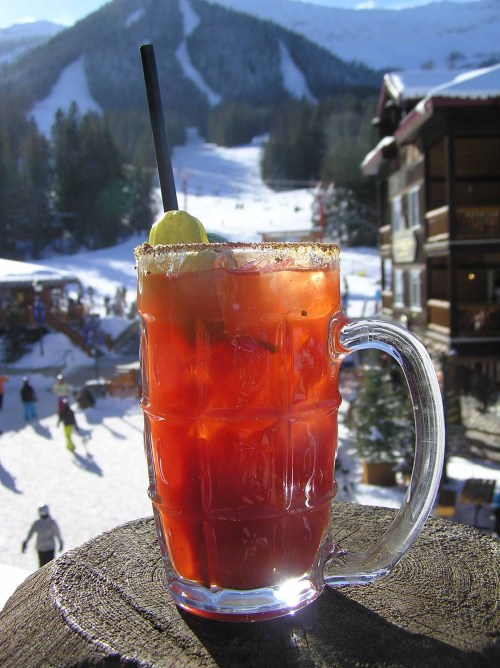 What's better than apres ski? A Griz Bar Caesar on an outdoor patio on a sunny afternoon apres ski.