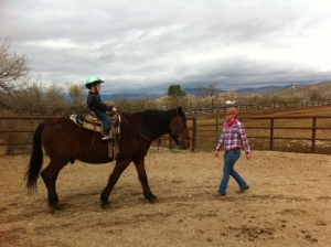 Bennett was super excited to horseback ride and he loved it.