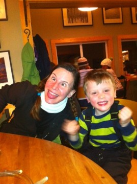 A post-fondue photo. I'll blame the wine for my silliness (not sure what Bennett's excuse is).