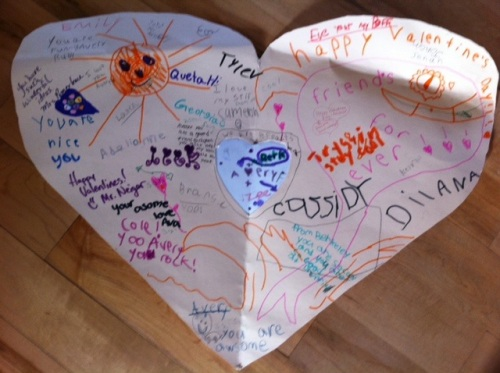 Avery's giant heart, signed by friends and other students at her school.