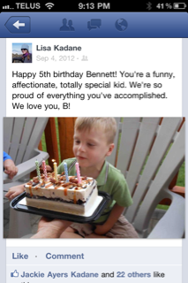 Facebook posts celebrate the exciting milestones, like a birthday.
