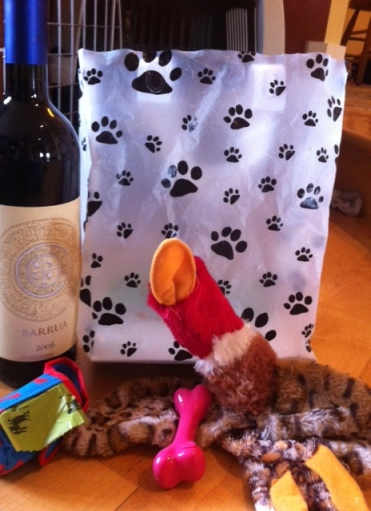 Just what every new dog owner wants (but doesn't get): chew toys and a bottle of wine.