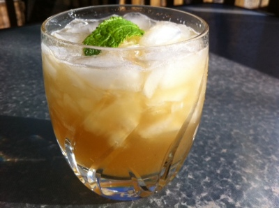 The Whiskey Smash features bourbon and muddled mint and lemons. It's yummy.
