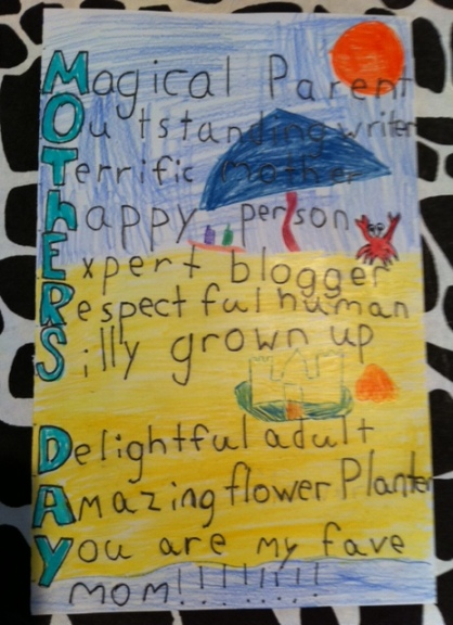 Avery made me this amazing Mother's Day card. I'm going to frame it.