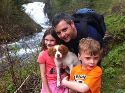 Posing with Piper in front of Fairy Creek Falls.