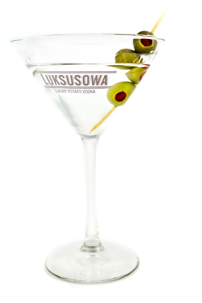 This manly martini is heavy on the vodka and features three olives.