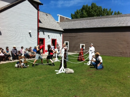 We loved watching the live street theatre next door to Alberta Bakery at Heritage Park.