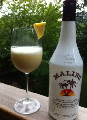 I liked the Malibu in theis drink -- it adds an extra coconuttiness and makes up for the fact I didn't use coconut cream.
