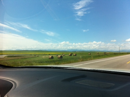 I love the journey when the scenery is gorgeous! Pictured here: hay bales, canola fields and the Rocky Mountains in the distance en route from Calgary to Fernie, B.C.