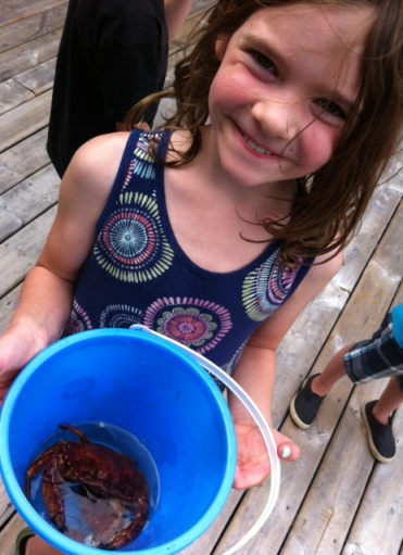 Avery catches one of many crabs up Indian Arm.
