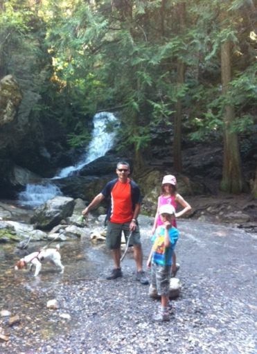 Hiking as a family to BX Falls near Vernon.