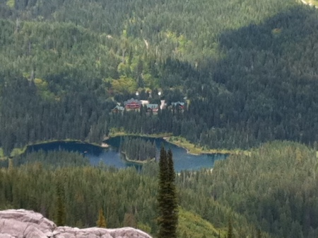 Look down, waaaay down: Island Lake and the lodge as seen from the top of Spineback Trail.