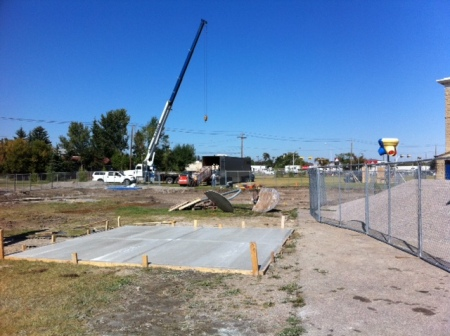 This was taken three weeks ago, when a crane was off-loading the equipment.