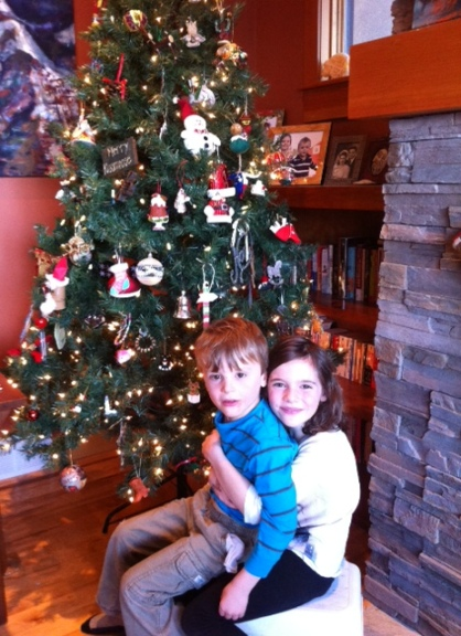 Bennett and Avery after trimming the tree.