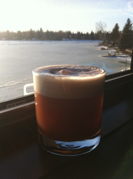 A lovely cherry whiskey sour from The Lake House. Nice view of Lake Bonavista!