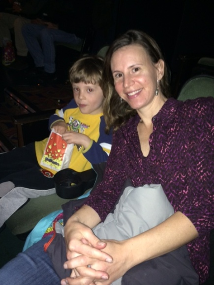 Bennett enjoys popcorn before The Nut Job at Canyon Meadows Cinemas.