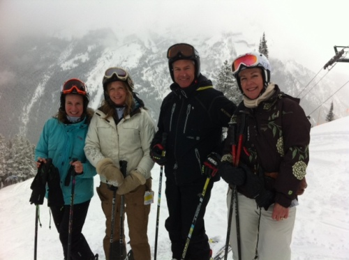 Ken Read skis me and fellow writers Kim Gray and Lisa Monforton around Mount Norquay.
