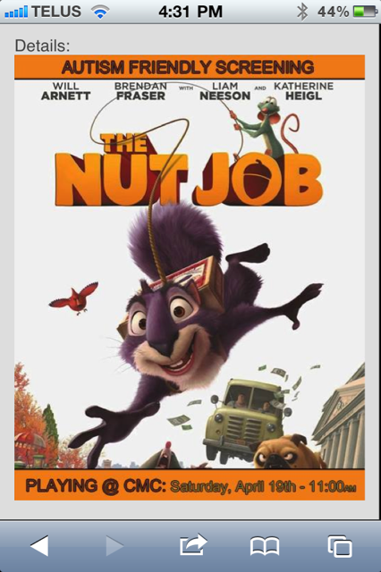 "The Nut Job is just an okay movie (Bennett much preferred Frozen), but ""autism friendly"" is more about the theatre environment than the show itself."