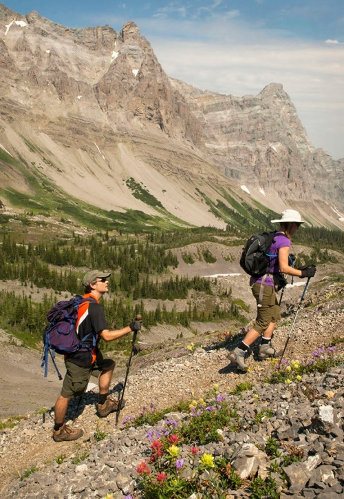 There isn't a bad view on Heiko's Trail. It was amazing to hike behind mountains visible from downtown Fernie. Mount Bisaro's 'Soda Wall' -- so named for the carbonates found in limestone -- looms behind us. Photo by Mike McPhee.