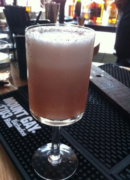 This delicious drink, basically a rum cherry sour, won the Mount Gay rum cocktail competition in Calgary last week.