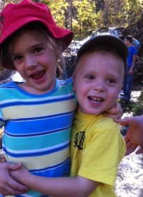 Avery (then 6) and Bennett (then 4) at hike's end in 2011.