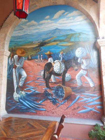 The jimadors of yore used to dress like this! I loved this mural painted on a veranda wall at the Patron Hacienda.