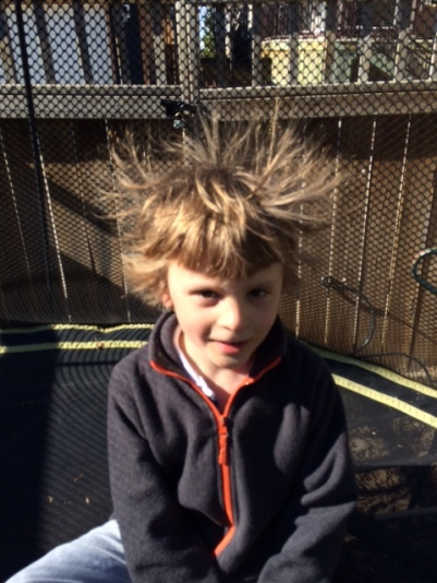 Another perk of trampolining? Silly hair.