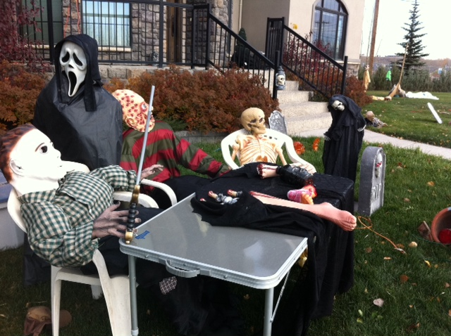 jason scream mask guy and freddy kreuger hold court at the zang a neighbourhood - Freddy Krueger Halloween Decorations