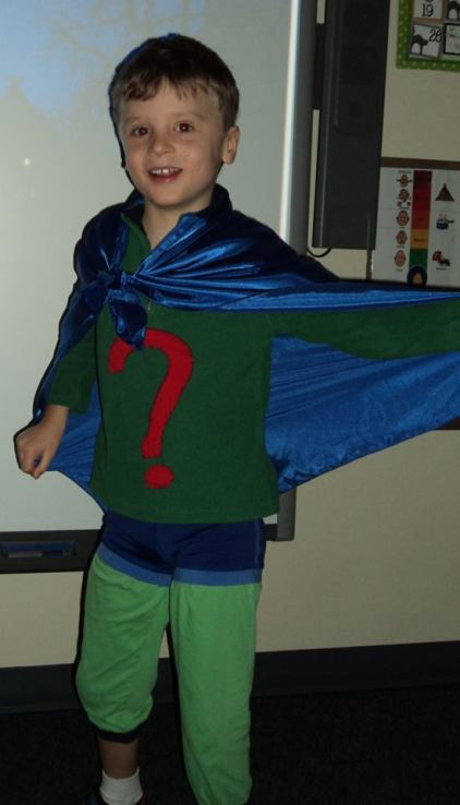 Bennett Ford, age seven, grade two. Dressed as Super Why for Halloween.
