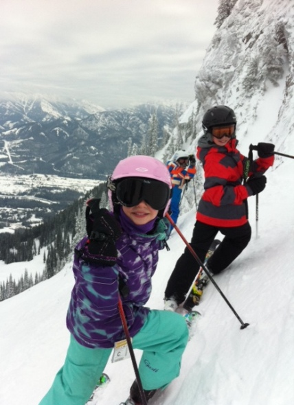 Avery and a friend stop at the top of Curry Bowl's 123's.