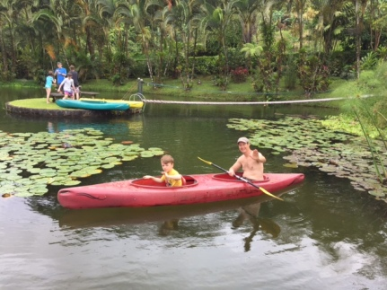 Kayaking around the pond at Villa Encantada. Photo by Lisa Kadane.