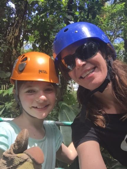 Avery and I stop for a selfie on a zipline platform.