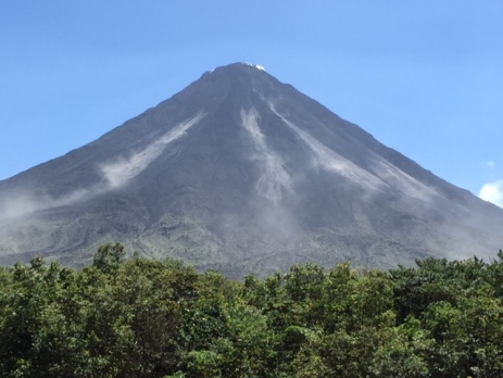 Even though the volcano hasn't erupted in five years, it still emits smoke and ash daily.