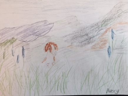A drawing of Piper in a field in Fernie, B.C.