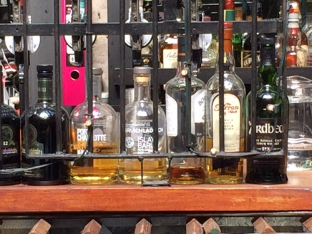Part of the whisky selection at Ubiquitous Chip down Ashton Lane in Glasgow.