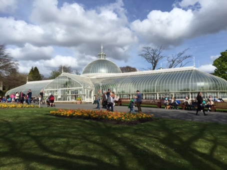 Glaswegians enjoy a midday stroll through the Glasgow Botanic Gardens. which are blooming with tulips in May.