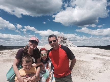 The only family photo from our road trip thus far, at White Dome Geyser along Firehole Lake Drive in Yellowstone.