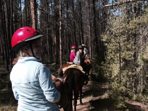 On the trail in Rocky Mountain National Resort. The girls were up by our guide Aubry, while my friend Becky and I brought up the rear. And by rear I mean her horse kept pooping!