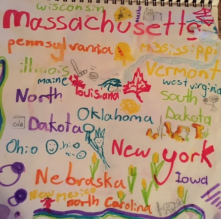 Avery drew symbols for each state we saw playing the license plate game.