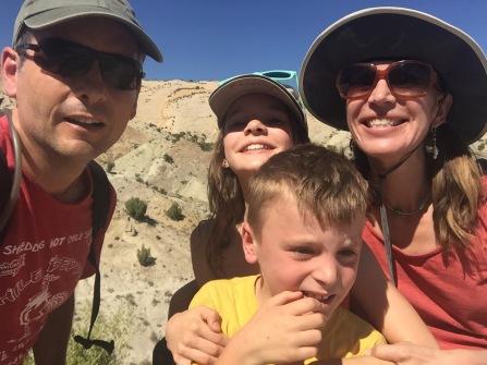 Family selfie at Dinosaur National Monument in Utah.