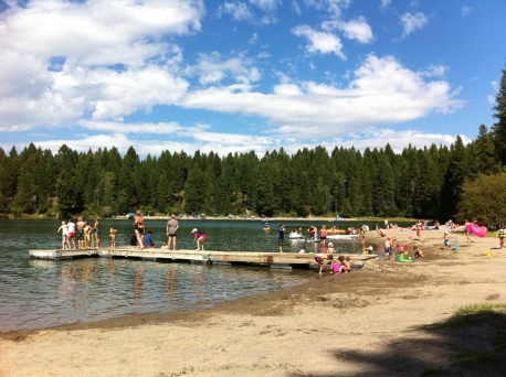 The dock at Surveyor's Lake is a busy place on a summer afternoon.