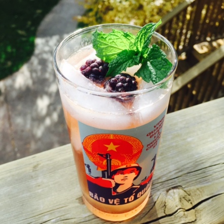 The taste of summer transitions to fall with the addition of Creme de Cassis.