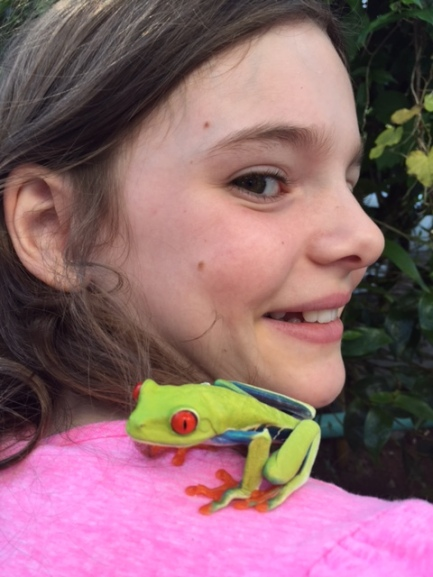 Avery was in her element in Costa Rica and loved all the wildlife including this red-eyed tree frog.