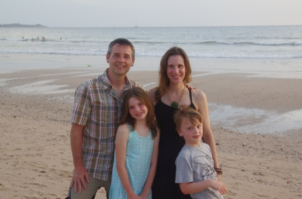 Family photo on Playa Grande beach on our last evening in Costa Rica.