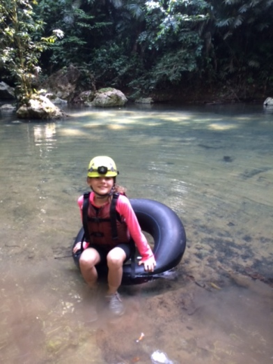 Avery all set to go cave tubing on an excursion from Caves Branch.
