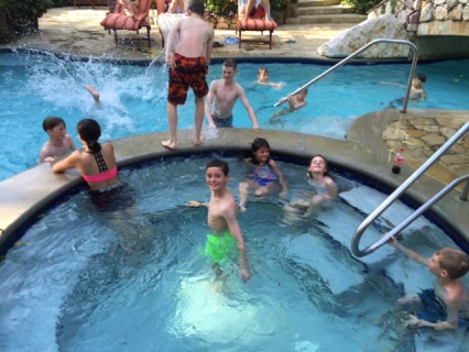 The kids formed a posse that hung out by the pool and hot tub every afternoon.