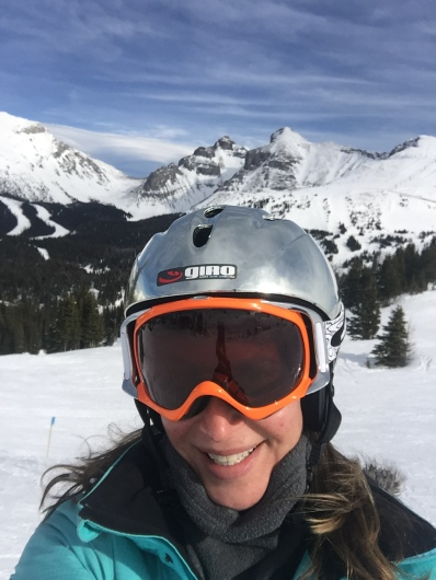 Every run is an opportunity for a mountain selfie. Goat's Eye Mountain and Delirium Dive are behind me -- yes you can ski that!