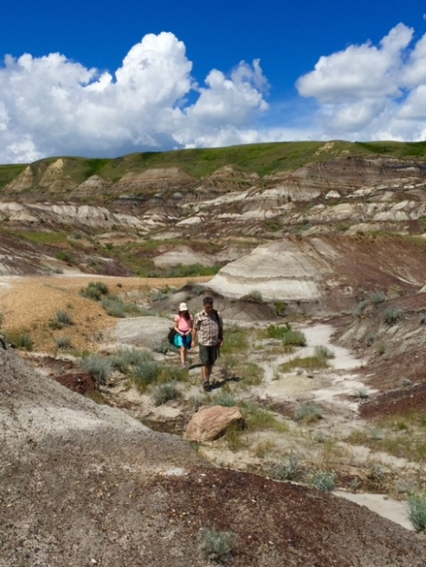 Avery and Blake hiking in the badlands near the Royal Tyrrell Museum.