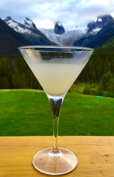 The 5:30 is a twist on a Sidecar, with pear brandy instead of cognac. It's just the thing to take you away after a day hiking from the whirly bird.