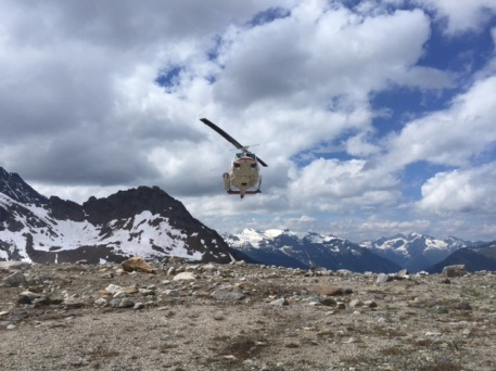 A Bell 212 helicopter comes to fly us to another spectacular hiking site in the Bugaboos.